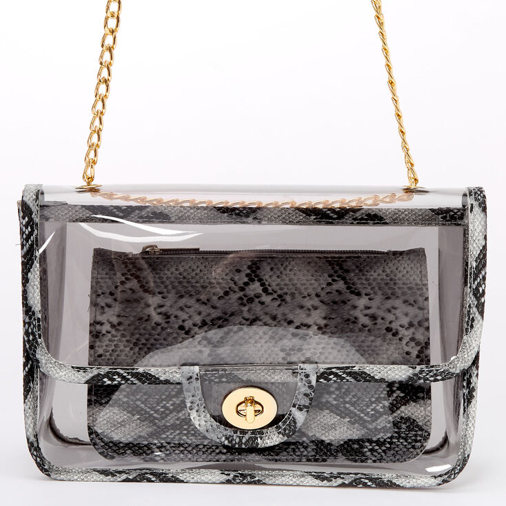 Clear Snakeskin Crossbody Bag,
