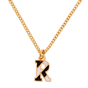 Gold Striped Initial Pendant Necklace - R,