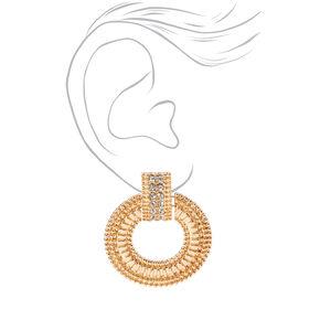"Gold 2"" Crystal Circle Door Knocker Clip On Drop Earrings,"