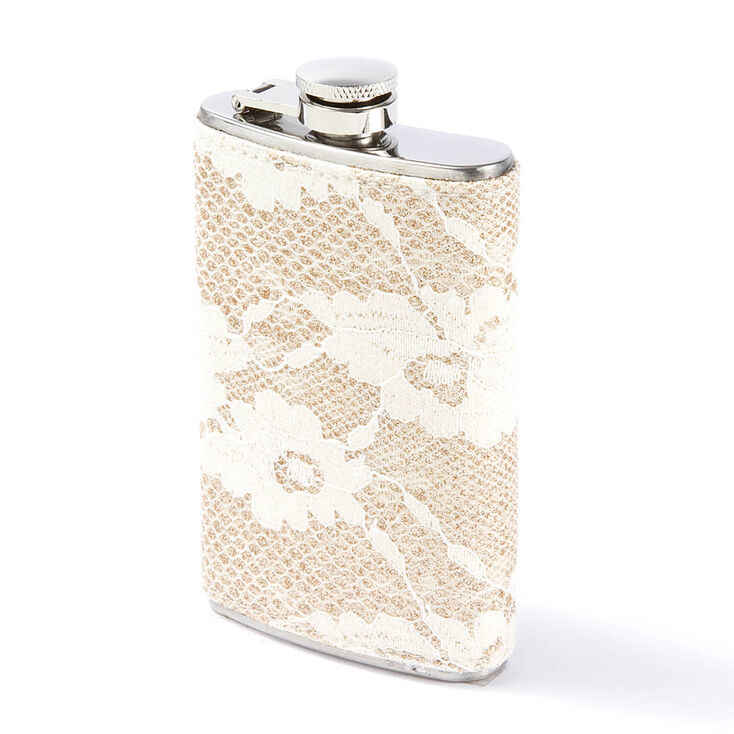 Gold Glitter & Ivory Floral Lace Flask,