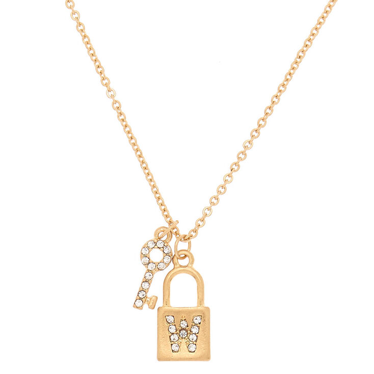 Gold Lock & Key Initial Pendant Necklace - W,