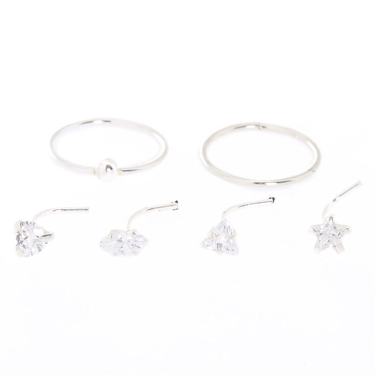 Sterling Silver Cubic Zirconia Mixed Shape Nose Rings - 6 Pack,