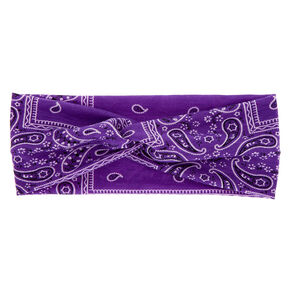 Wide Jersey Bandana Headwrap - Purple,