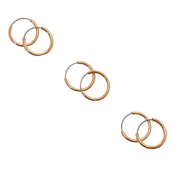10MM Gold Tone Skinny Hoop Earrings,