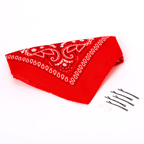 Bandana Bun Hair Tools Kit - Red,