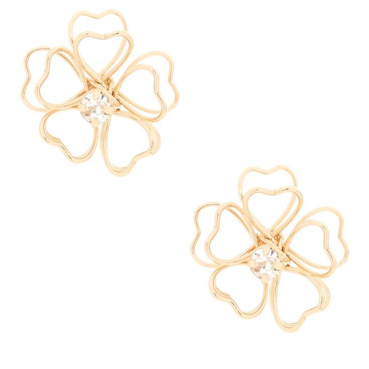 Gold-Tone Wire Flower Stud Earrings,
