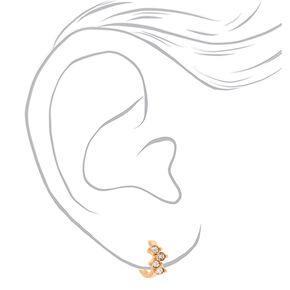 Gold 10MM Fancy Crystal Huggie Hoop Earrings,