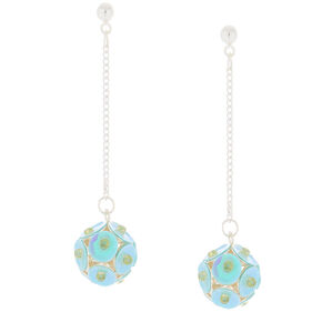 "2"" Sequin Ball Drop Earrings - Turquoise,"