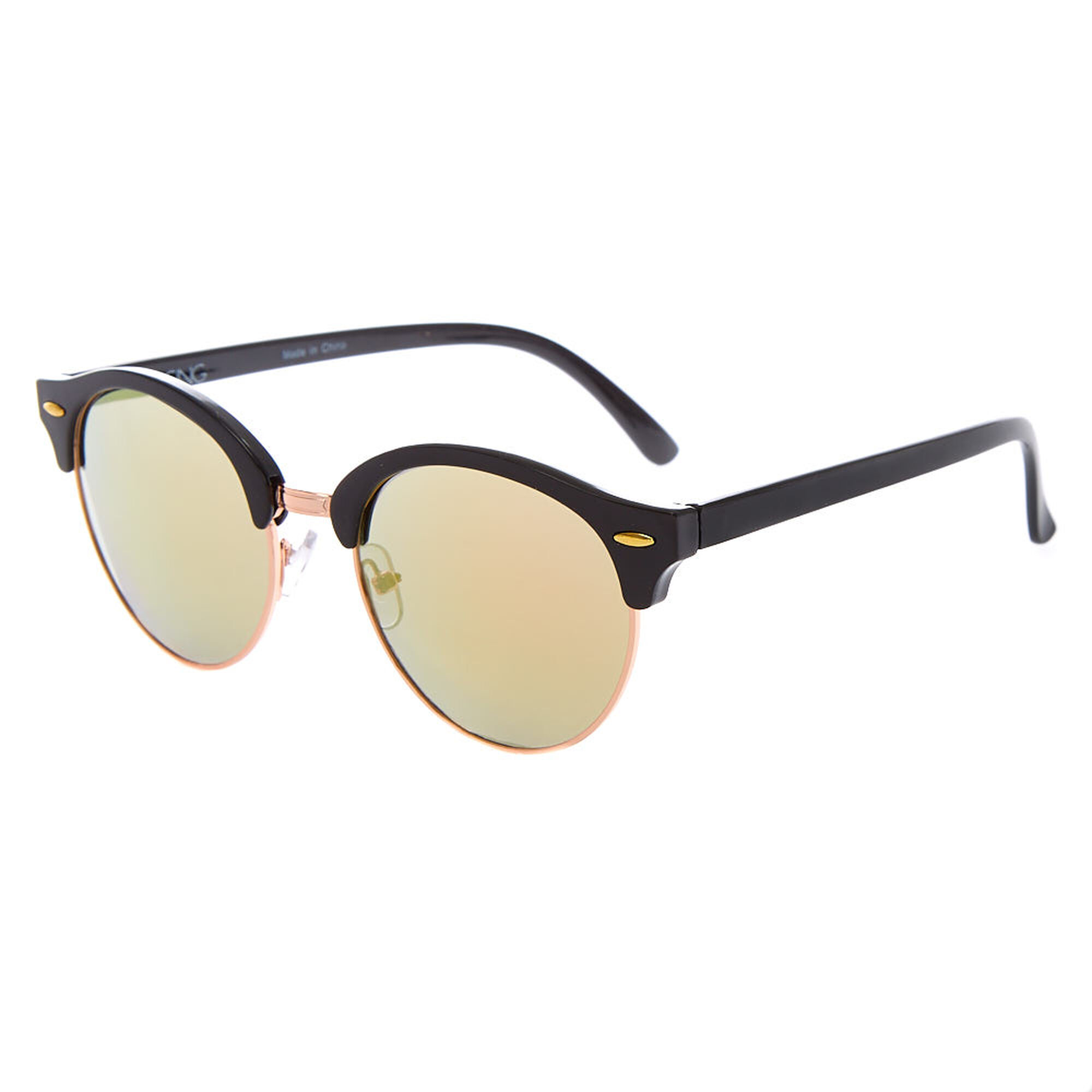 4ad26298ebc4 Round Browline Sunglasses - Black