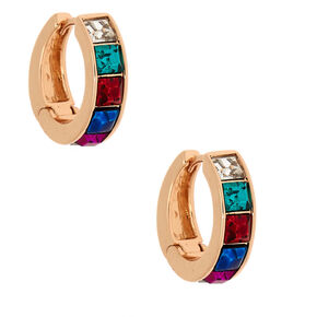 Gold 12MM Rainbow Hoop Earrings,