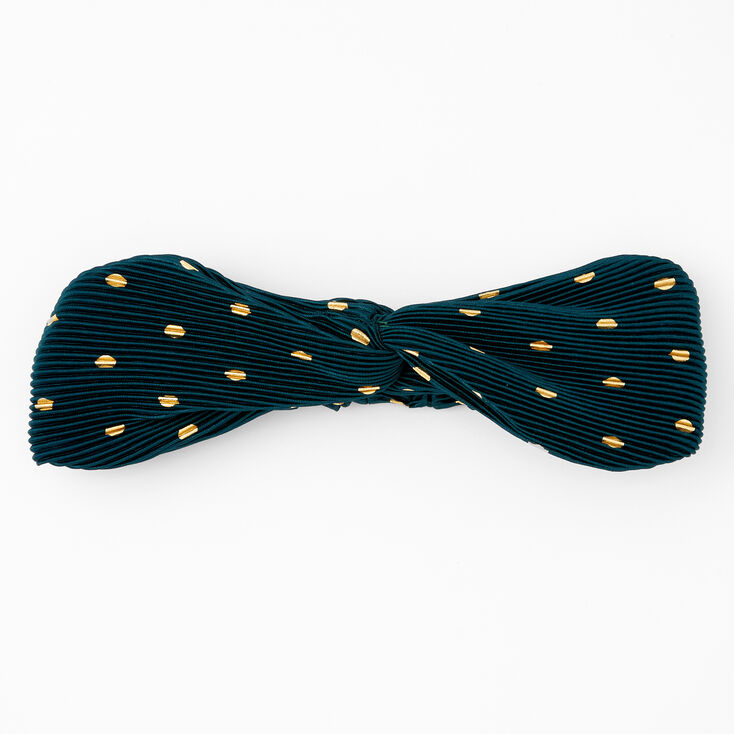 Pleated Polka Dot Twisted Headwrap - Teal,