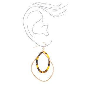 """Gold 2"""" Tortoiseshell Twist Drop Earrings - Brown,"""