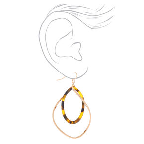 "Gold 2"" Tortoiseshell Twist Drop Earrings - Brown,"