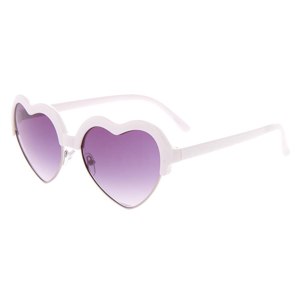 Shaped Heart White Brow Sunglasses Heart Shaped Brow Nkn0OXZ8wP