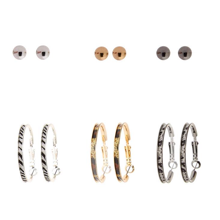 Animal Print Stud & Hoop Earrings Set,