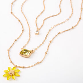 Gold Daisy Stone Pendant Necklaces - Yellow, 3 Pack,