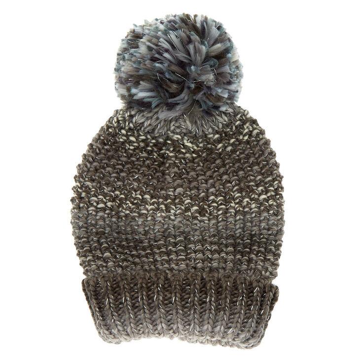 Ombre Knit Pom Beanie - Gray,