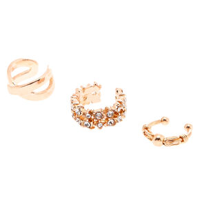 3 Pack Rose Gold-Tone Ear Cuff Set,