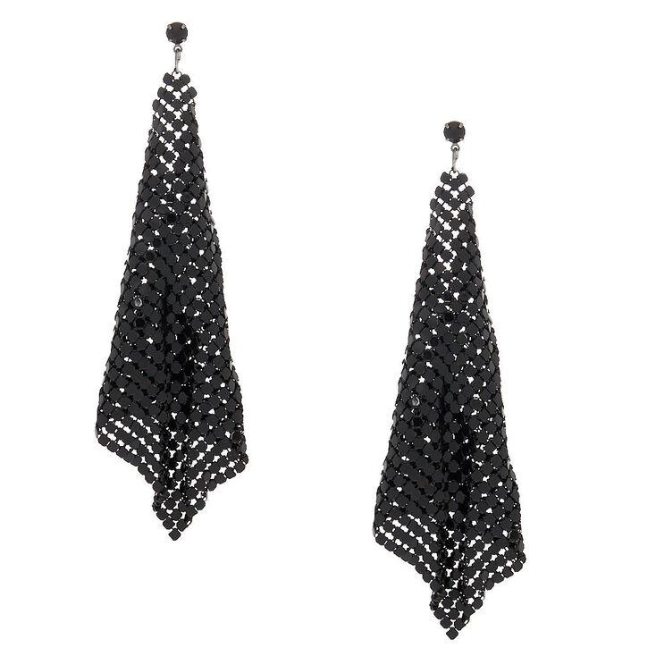 """Black 4"""" Mesh Drop Earrings,"""