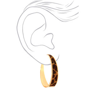 Gold 60MM Glitter Leopard Hoop Earrings,