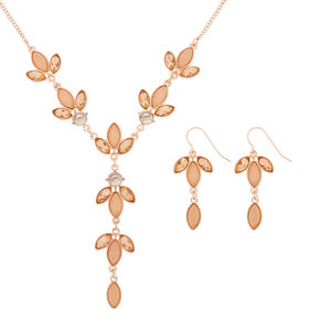 Rose Gold Petal Jewelry Set - Pink, 2 Pack,