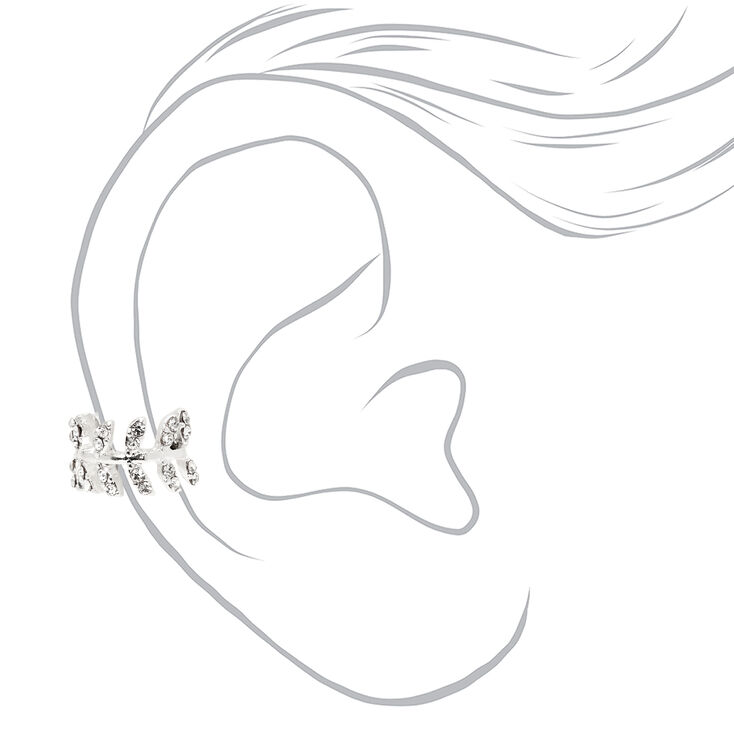 Silver Embellished Leaf Ear Cuff,