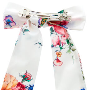Rose Draped Hair Bow Clip - White,