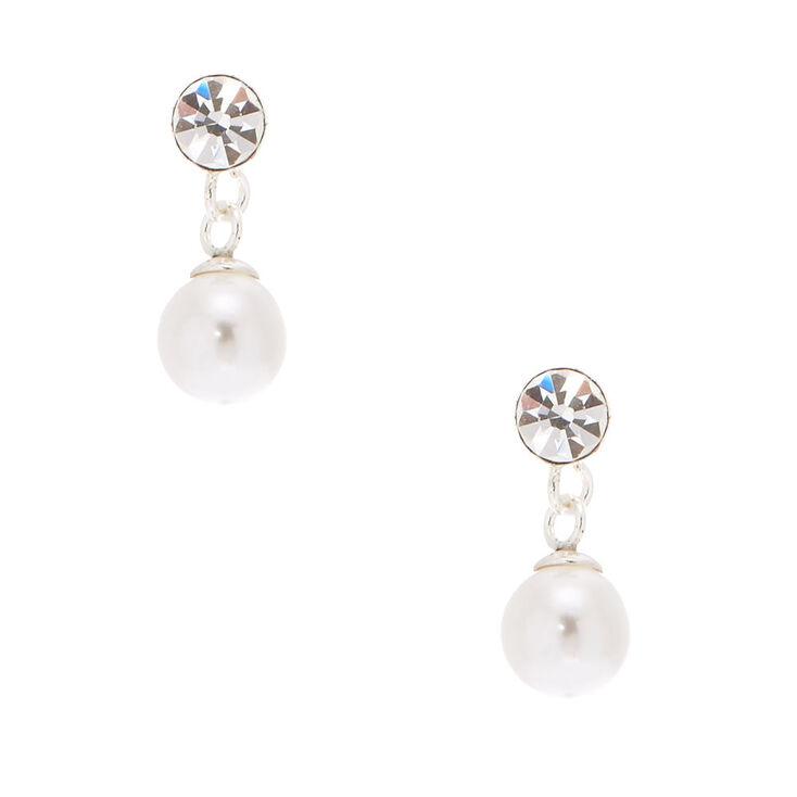 Sterling Silver 5MM Pearl Drop Earrings,
