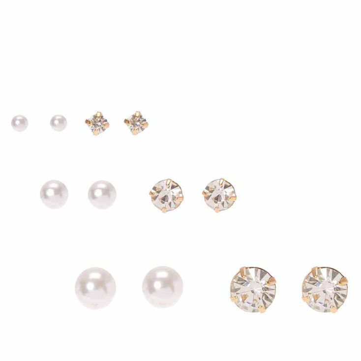 Faux Pearl & Crystal Graduated Stud Earrings,