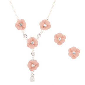 Silver Floral Jewelry Set - Pink, 2 Pack,