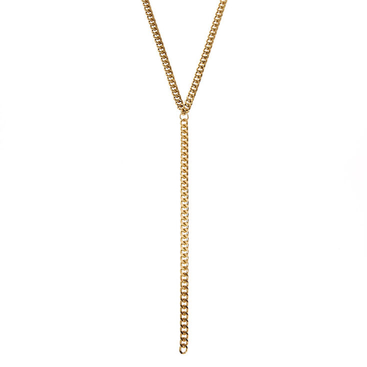 Long Gold Link Chain Necklace,