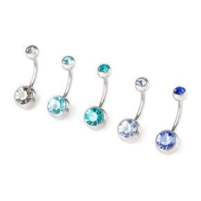 14G The Blues Crystal Belly Rings Set of 5,