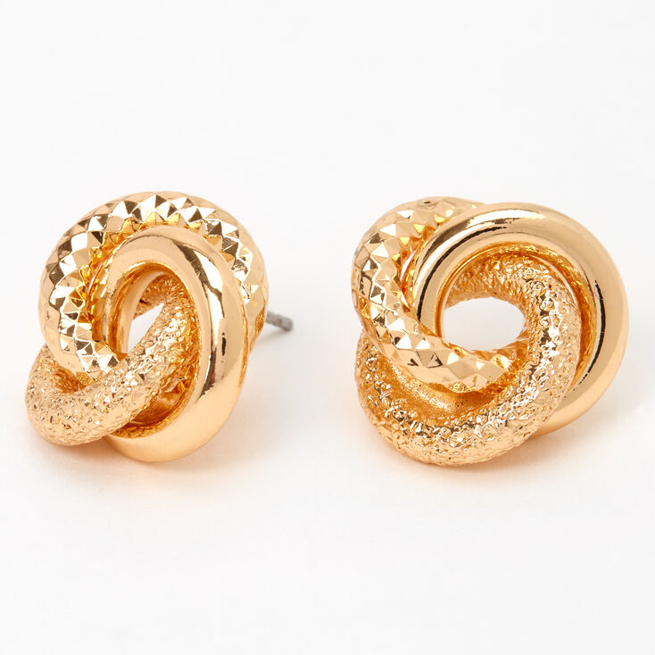 Gold Textured Knot Stud Earrings,