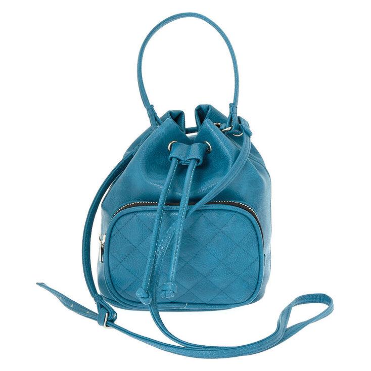 Faux Leather Mini Bucket Crossbody Bag - Teal,