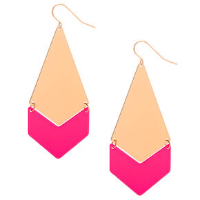 """Gold 2.5"""" Drop Earrings - Neon Pink,"""