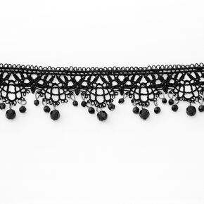 Beaded Lace Ornate Choker Necklace - Black,