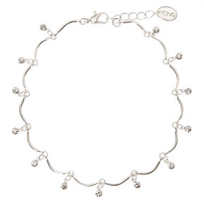Silver Waved Beading with Rhinestones Anklet,