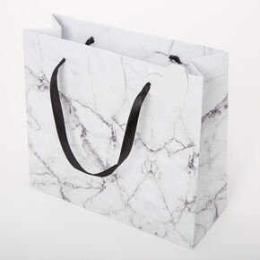 Medium Marbled Gift Bag - White,