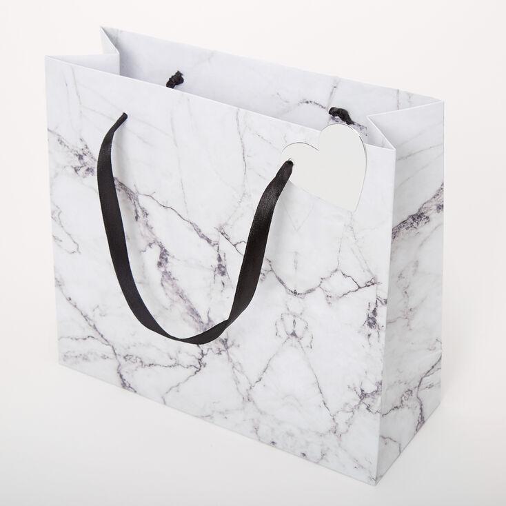 Medium Marbled Gift Bag - White,
