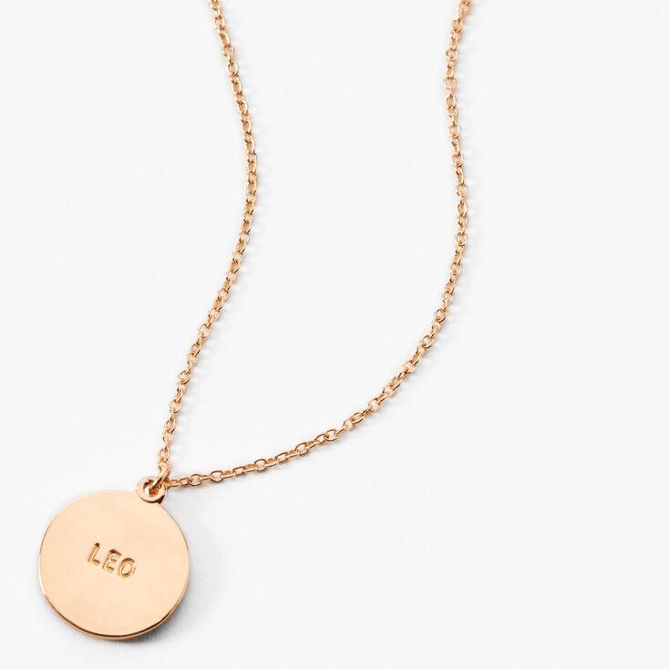 Gold Round Mood Zodiac Pendant Necklace - Leo,