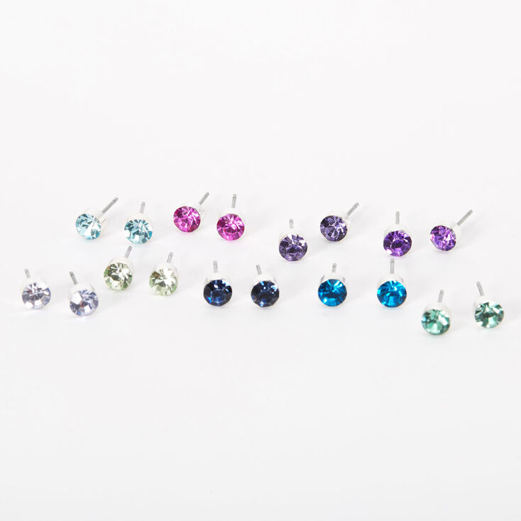 Rainbow 5MM Round Mixed Stud Earrings - 9 Pack,