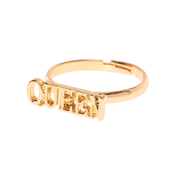 Gold-Tone QUEEN Adjustable Ring,