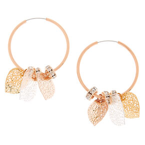 Rose Gold 25MM Filigree Leaf Hoop Earrings,