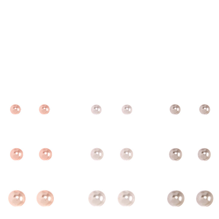 Graduated Pink, White & Gray Faux Pearl Stud Earrings,