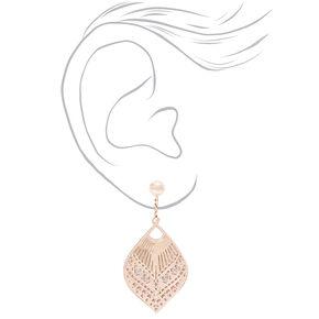 """Rose Gold 1"""" Filigree Teardrop Clip On Drop Earrings,"""