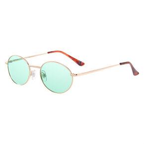 Gold Oval Sunglasses - Mint,