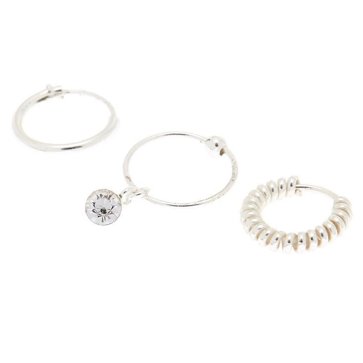Cartilage Silver Hoop Earrings Set of 3,