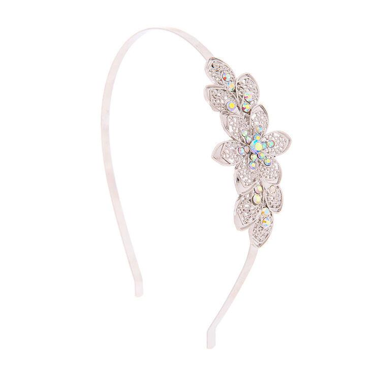 Silver Filigree Flowers with Iridescent Crystals Headband,