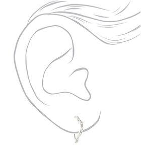 Silver 20MM Crystal Heart Hoop Earrings,