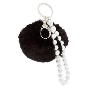 Black Pom Pom with Pearl Chain,
